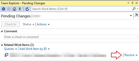 Change Visual Studio 2015 TFS Associate or Resolve work item